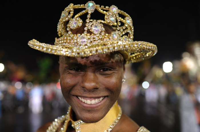 A member of Academicos do Tatuape samba school, before the first night of carnival parade at the Sambadrome in Sao Paulo, Brazil, on February 8, 2013. (Yasuyoshi Chiba/AFP/Getty Images)