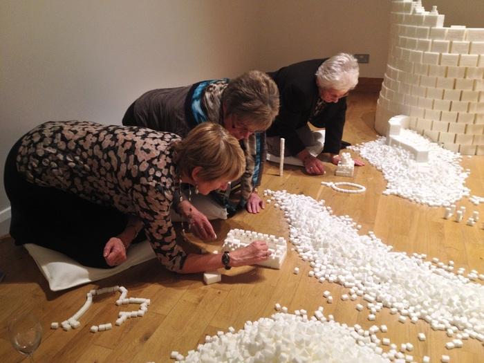 Pensioners enjoying the construction process during the Northern Ireland version of Sugar Metropolis (Photo Credit: Project On Kickstarter)