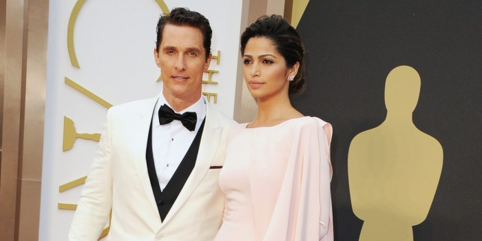 HOLLYWOOD, CA - MARCH 02:  Actor Matthew Conaughey (wearing Chopard) and model Camilla Alves attend the Oscars held at Hollywood & Highland Center on March 2, 2014 in Hollywood, California. He won Best Actor for his role in Dallas Buyers Club  (Photo Credit: Steve Granitz/WireImage)