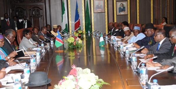 Bilateral meeting btw Nigeria & Namibia: immigration, trade, mining, justice, health, tourism, youth devt.