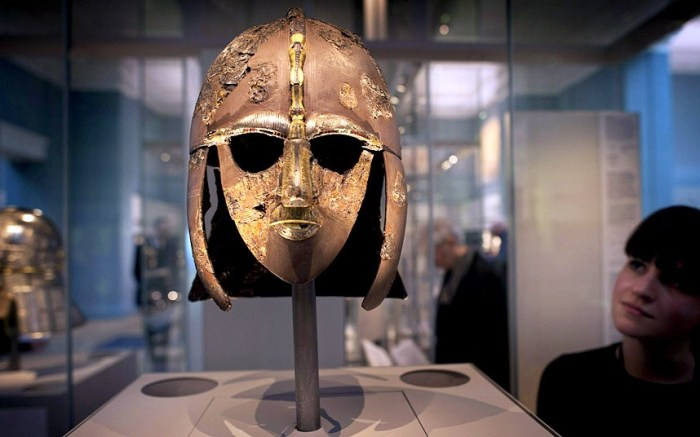 The helmet of an Anglo Saxon King circa AD600 - just one of the artifacts which will go on display from Thursday March 27 2014 at the British Museum (Photo Credit: DAVID ROSE FOR THE TELEGRAPH)