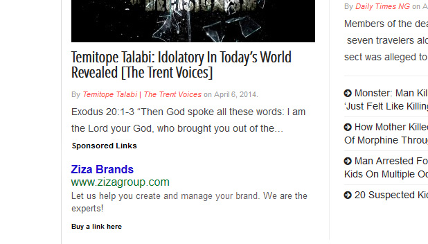 Homepage sponsored link screen shot