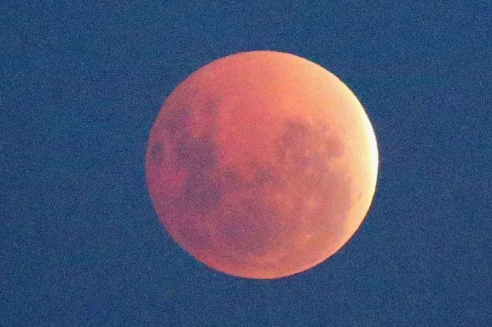 The 'Blood Moon' rises over the water in Wlliamstown (Photo Credit: Getty Images)