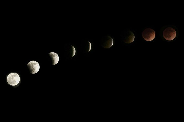 The moon is seen as it nears a total lunar eclipse (Photo Credit: Getty Images)