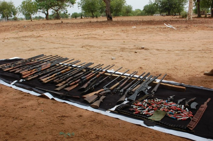 Weapons recovered from the terrorists in Taraba by Nigerian troops (DHQ Photo)