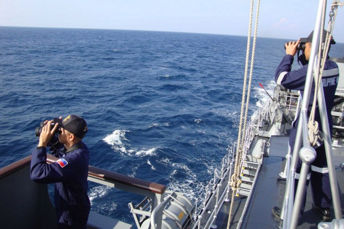 Philipino Navy Ship on the sea in search for the missing Malaysian flight MH370