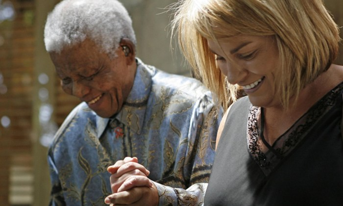 Zelda la Grange pictured with the late South African President Nelson Mandela