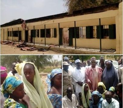 The school where the girls were abducted by Boko Haram (top); (bottom-r) Governor of Borno pictured with some of the girls who escaped, (bottom-l) some of the girls who escaped