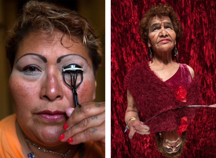 Left: 2Mexico City, 2008, Paola, a resident at Casa Xochiquetzal, puts on makeup before going to work. When this photo was taken, she was one of the youngest women at the shelter and still worked the streets. On January 1, 2011, she disappeared and never came back. Right: Mexico City, 2008, Portrait of Victoria, who, at age 81, is the oldest resident of Casa Xochiquetzal. (Photo Credit: Slate/Bénédicte Desrus)