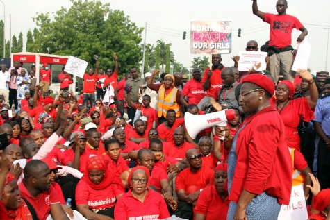 The #BringBackOurGirls protests in Abuja yesterday, May 22, 2014. Pictured with a microphone is former VP of the World Bank, Oby Ezekwesili addresses the protesters (Photo Credit: Sahara Reporters)