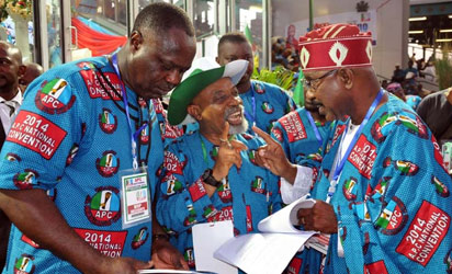 APC National Convention: Convention Committee Members Senator Olorunbe Mamowora discussion with Senator Chris Ngige and others at the Convention .