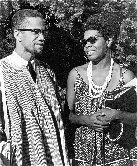 Maya Angelou with Malcolm X in Ghana, West Africa in 1964 (Photo Credit: Vintage Black Glamour/Tumblr)