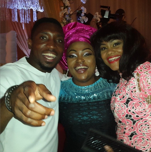 Timi Dakolo and wife with Funke Akindele at Dr Sid and Simi Osomo's  traditional marriage at the The Ark Event Center, Lekki, Lagos on Sunday, July 27, 2014 (Photo credits: Linda Ikeji)