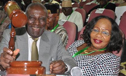 Chairman of National Conference, Hon. Justice Idris Legbo Kutigi with his gavel at Conference. (Photo: Gbemiga Olamikan)