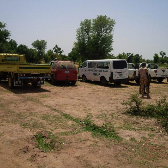 Some vehicles captured from the terrorists at Balmo Forest  (Photo: Defence HQRT)