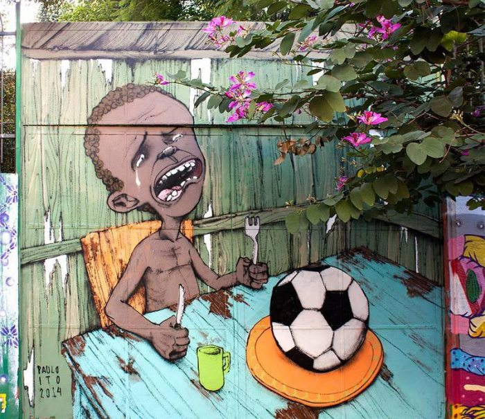 Street art conveys the anti-World Cup sentiment running rampant throughout the streets of Brazil. Source: Slate