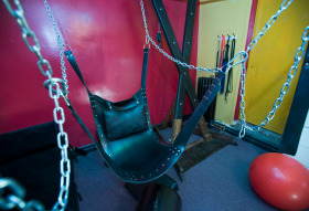 """A sex swing is set up in the bedroom inside The Suite and ready for anyone who choses to try it out. Jay Jay's Inn, owned and operated by Jack Cohen, is located in Etobicoke south. The club features all a meeting area downstairs, and upstairs """"play"""" rooms. But you can also rent a room overnight, for those who don't want to head to another located at the 2 am close time. Photo taken on February 12, 2014.  (Photo Credit: Rick Madonik/Toronto Star via Getty Images)"""