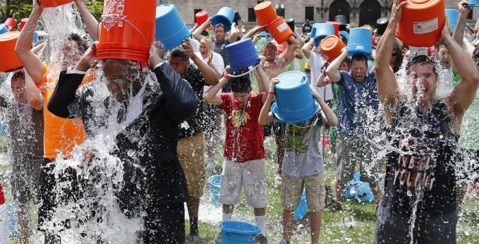File Photo: A group performing the ALS Ice Bucket Challenge