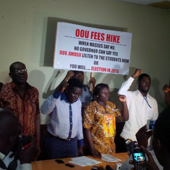 Students of olabisi Onabanjo university, Ago Iwoye at a press conference held in Lagos on Monday, September 8, 2014 [Photo Credit: premium Times]