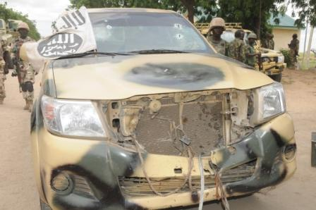 the destroyed terrorists operational vehicles after Konduga battle