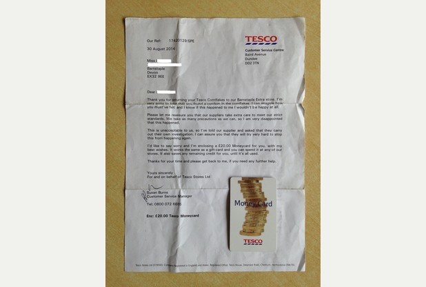 APOLOGY: The letter and money card sent by Tesco, the supermarket where the corn flakes was bought(Photo Credit:North Devon Journal)
