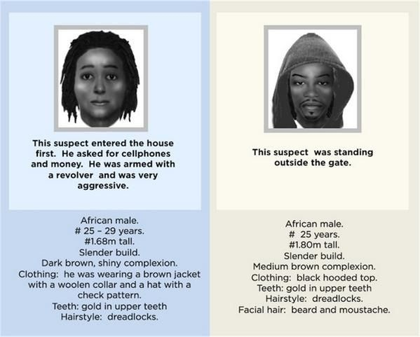 Detailed picture of the identikit of the suspected killers of South African goal keeper (Photo Credit: South African Police Headquaters)