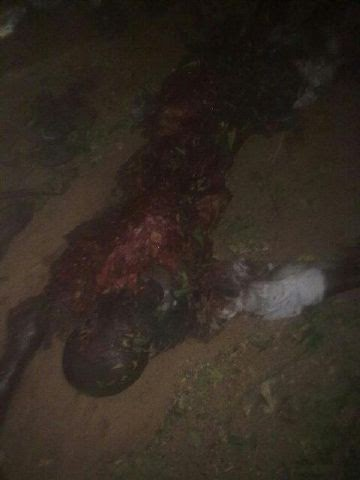 The remains of the suicide bomber that blasted the Azare bus station,Bauchi state on the night of Wednesday, October 22, 2014. (Photo Credit:Linda Ikeji)