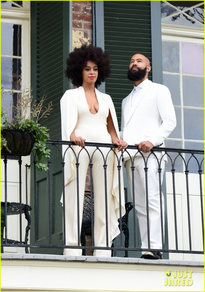 """Bride-to-be Solange Knowles and her fiance Alan Ferguson pose on a French Quarter balcony just before they say """"I do"""" in New Orleans, Louisiana.(Photo Credit: INFphoto.com)"""