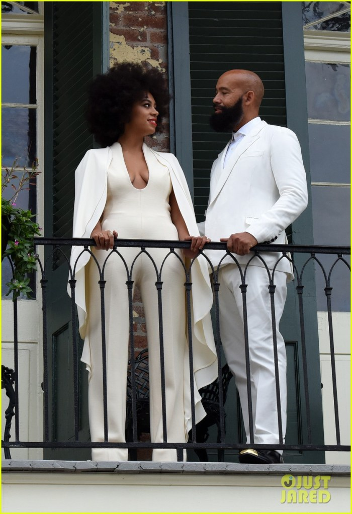 """Bride-to-be Solange Knowles and her fiance Alan Ferguson pose on a French Quarter balcony just before they say """"I do"""" in New Orleans, Louisiana. (Photo Credit: INFphoto.com)"""