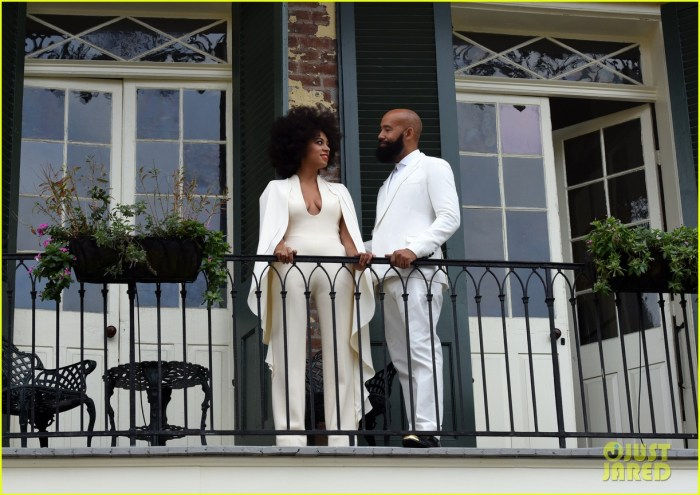 """November 16, 2014: Bride-to-be Solange Knowles and her fiance Alan Ferguson pose on a French Quarter balcony just before they say """"I do"""" in New Orleans, Louisiana.(Photo Credit: INFphoto.com)"""