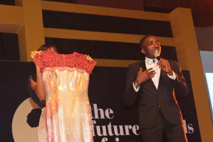 LDA Couture Dress Auctioned at The Future Awards Africa 2014 for the #StopEbola campaign. It went to Linda Ikeji, Nigeria's top blogger. (Photo Credit: TFAA)