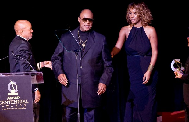 Stevie Wonder and his financee, Tomeeka Robyn Bracy stand with Motown founder Berry Gordy, left, and ASCAP President Paul Williams, right at the 2014 ASCAP Centennial Awards, benefiting the ASCAP Foundation and its music education, talent development and humanitarian activities, at the Waldorf-Astoria on Monday, Nov. 17, in New York.   Associated Press/Stephen Chernin