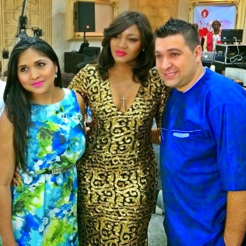 Omotola with friends at her 20th anniversary in Nollywood on Saturday, January 24, 2015 in Abuja (Photo Credit: Linda Ikeji)