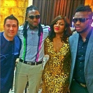 Omotola Jalade, Uti and Joseph Yobo during her 20th anniversary in Nollywood on Saturday, January 24, 2015 in Abuja (Photo Credit: The Net)
