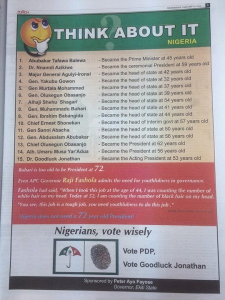The 2nd advertorial by Ekiti State Governor, Ayo Fayose