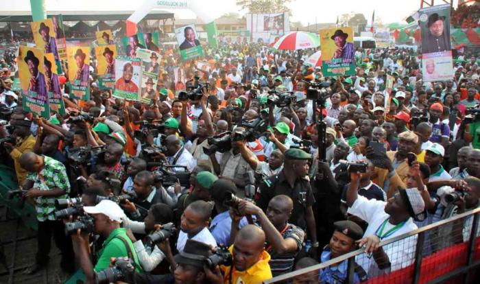 A cross section of the crowd at the at the PDP presidential campaign rally in Abia State on Friday, January 16, 2015 (Photo Credit: Reuben Abati)