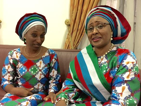 Mrs.. Buhari and Mrs. Osinbaji pose for a photo before the APC presidential rally in Abeokuta, Ogun STtae on Tuesday, january 13, 2015 (photo credit: The Scoop)