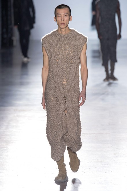 A model walks the runway during the Rick Owens Menswear Fall/Winter 2015-2016 show at Palais de Tokyo as part of Paris Fashion Week on Thursday, January 22, 2015 in Paris, France. (Photo Credit: Daily Beast)