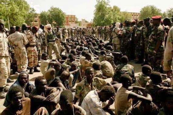 Members of Boko Haram captured by the Nigerian Military in Chad on Tuesday, February 24, 2015 (Photo Credit: Defense Headquarters)