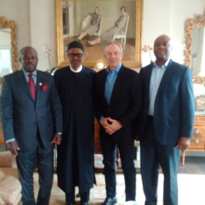 DISGRACEFUL: The photoshopped image of General Buhari and Tony Blair released by APC media team
