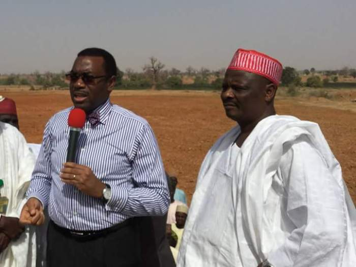 Governor Rabiu Kwakwanso of Kano State and the Minister of Agriculture, Akin Adesina at the commissioning of the Akin Adesina Magaga Irrigation project in Kano State (Photo Credit: Thee Scoop)
