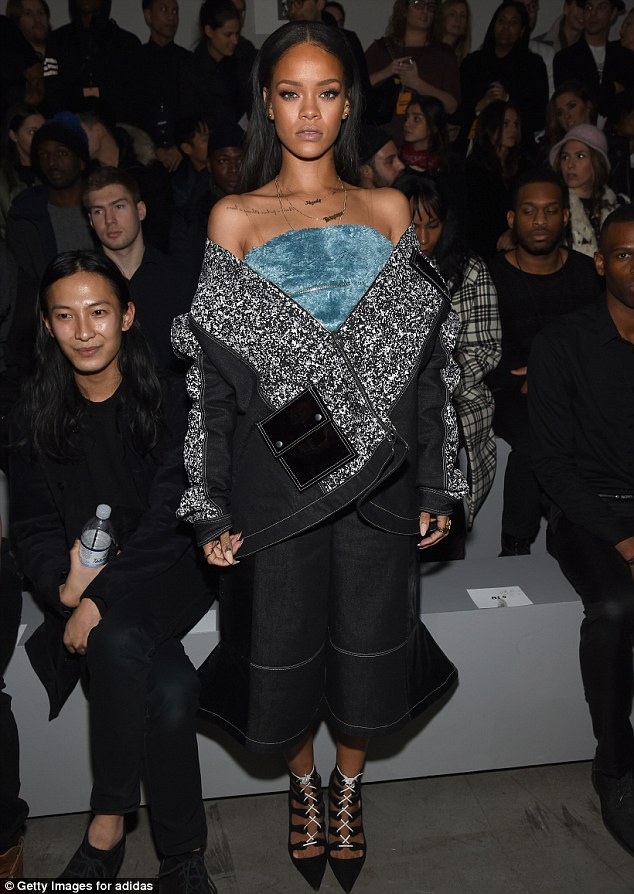 Rihanna at Kanye West's concert and fashion show in New York City on Thursday, February 12, 2015 (Photo Credit: Mail Online)