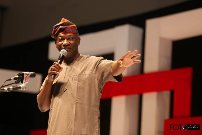 Lagos State Guber Candidate for the PDP, Jimi Agbaje speaks at the Meet The President event at Eko Hotel, Lagos on March 1, 2015 (Photo Credit: Foto Fashion/PVC)