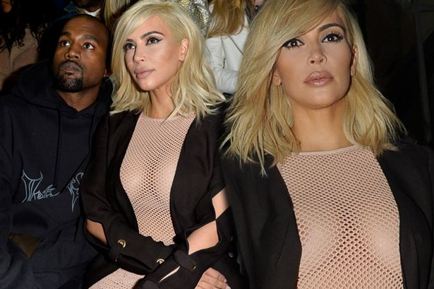 Kim Kardashian flaunts nipples as she attended the Lanvin fashion show in Paris with husband, Kanye West. (Photo Credit: Mirror UK)