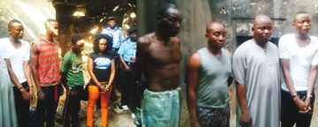 Suspected kidnappers, arrested on Monday, March 9, 2015 in connection with the kidnap of NACCIMA boss in Ibadan. (Photo Credit: Punch)
