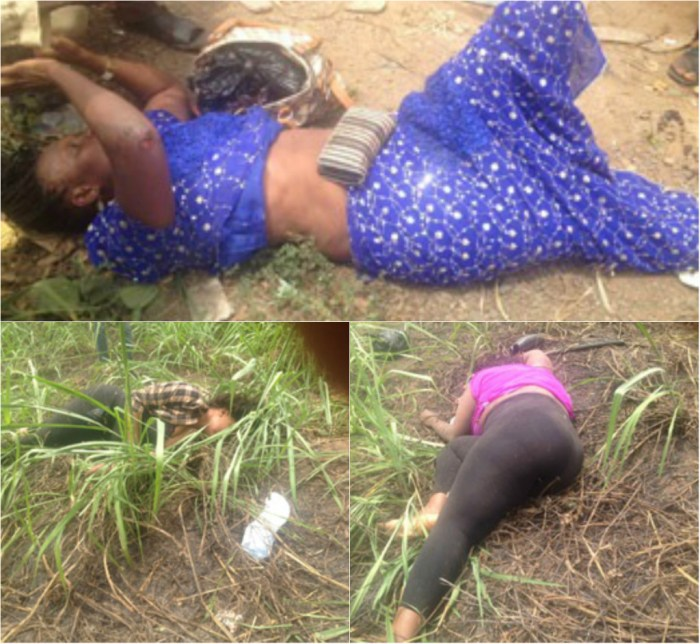 Lifeless bodies of the three women who died in road crash as customs chase smugglers along Lagos Benin highway on Thursday, March 26, 2015 (Photo Credit: Nigerian Current)
