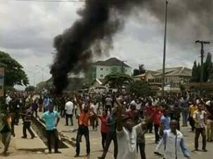 Post election protest in Uyo, Akwa Ibom State on Sunday, April 11, 2015 (Photo Credit; Courage Mbon)