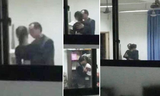 Pervy Xu Ko, 40, was caught molesting and kissing a 16-year-old student in his office at a school in the Yubei District of Chongqing, China. (Photo Credit: Daily Mail)