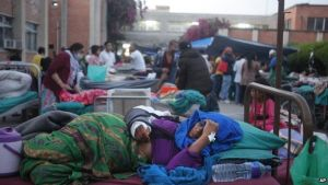 Patients at the Teaching Hospital in Kathmandu were treated outside (Photo Credit: BBC)