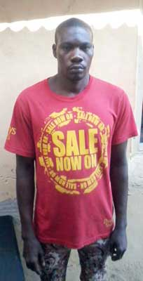 33-year-old Wasiu Fadairo, the mechanic who lured the victim, Bode David, with a call that brought him to the house where he was forced to sleep with his friend's corpse in Isheri Magodo Lagos. (Photo Credit: Vanguard)